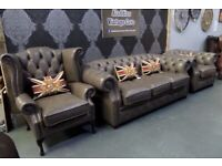NEW Chesterfield Suite 3 Seater Sofa Wing Back & Club Chair in Grey Leather - Uk Delivery