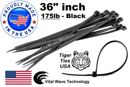 "100 Black 36"" inch Wire Cable Zip Ties Nylon Tie Wraps 175lb USA Made Tiger Ties"