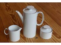 Thomas Medaillon Narrow Platinum Band Coffee set: coffee pot, milk jug, sugar basin with lid
