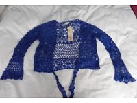Kaliko colbat blue shrug – medium, New never worn