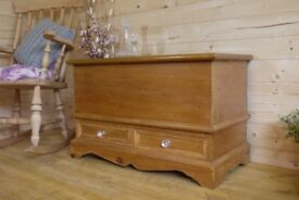 Beautiful solid waxed pine storage chest, trunk,blanket box ottoman with drawers