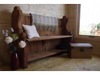 Antique solid pine church pew, monks bench, settle, storage seat with shelf, hall seat.