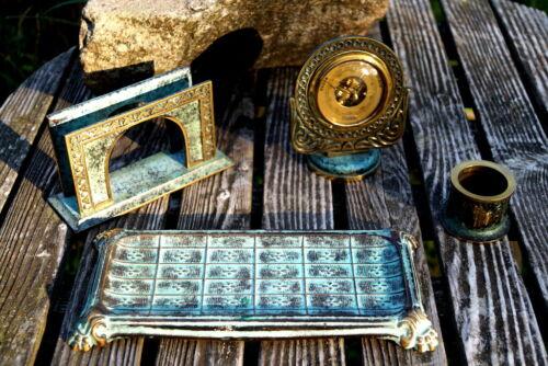 Beautiful Desk Set Bronze Um 1930 Barometer Denfeld Fine & Valuable