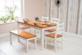 RUSTIC 6 PIECES SOLID WOOD DINING TABLE, 4 CHAIRS AND BENCH - WOODEN FURNITURE SET