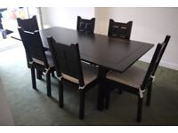 Six Seat solid wood rectangular Dining Table with 6 chairs - reduced for quick sale