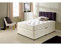 UK MANUFACTURED !! DOUBLE DIVAN DEEP QUILT BED !! BED BASE + DEEP QUILT MATTRESS
