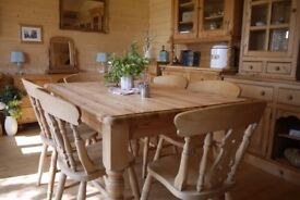 Farmhouse solid waxed pine 6 seater table and chairs. 6 beech fiddleback chairs