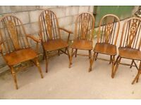 SIX OLD CHARM CHAIRS, INCLUDING TWO CARVERS