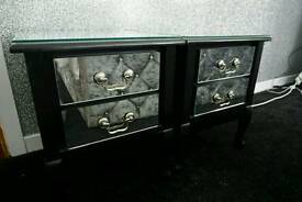 Bedroom drawers , dresser and side cabinets black mirrored set
