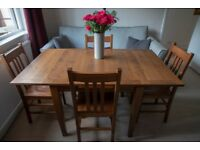 Solid hardwood, Italian made, extendable dining table and 4 chairs