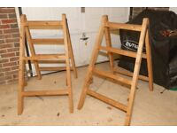 Pair Solid Large Wooden Trestles