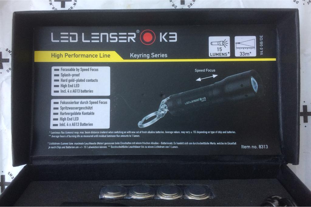 GENUINE LED LENSER K3 KEYRING TORCH BNIB