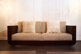 Luxury Italian Sofa in Ebony Wood with Rubelli Fabric