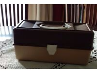 Sewing, craft or fishing tackle 2 tray cantilever box