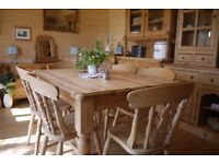 Farmhouse solid waxed pine wood 6 seater table 6 fiddleback chairs.