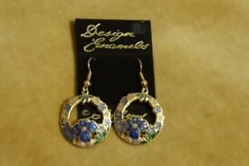 Design Enamels Sea Gems Blue Enamelled Hook Earrings, Unused, Histon