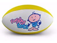 "Yellow leather size 2 rugby ball by ""Rugby tots"". Half price & 3 FREE marker cones (kicking tees)"