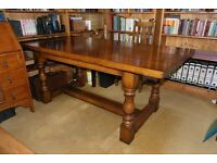 Solid English Oak Dining Table – Study Desk – Refectory Table.