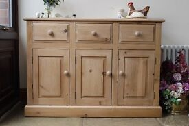 Solid waxed pine rustic farmhouse 3 door sideboard, dresser kitchen cupboard.