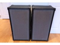 """Pair of 2x12"""" PA Speaker Cabs Monitors & FREE Shure Unidyne Dynamic Microphone"""