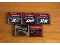 Compact Flash Cards (5 cards 128GB in total)