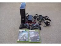 Black Xbox 360 S 250Gb Bundle with 2 Wireless controllers