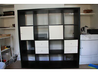 IKEA Expedit / Kallax Shelving unit 4 X 4 in Black Brown with 4 drawers/doors