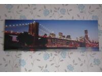 New York skyline Brooklyn Bridge canvas print, 18 x 53 inches