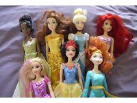 7 Disney Princess Dolls (Belle, Ariel, Tiana,Cinderella, Merida, Rapunzel and Snow White)
