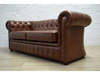 Dark Tan Leather Chesterfield Three Seater Sofa (DELIVERY AVAILABLE)