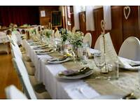 13x Hessian and lace wedding table runners