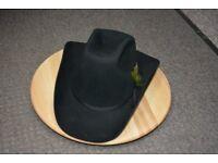 Vintage Black Dynafelt Cowboy Hat with feather, size 7 1/4