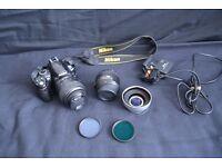 Nikon DSLR D3000, 18-55mm lens, 50mm lens, circular polarizer, UV filter and wide angle converter!