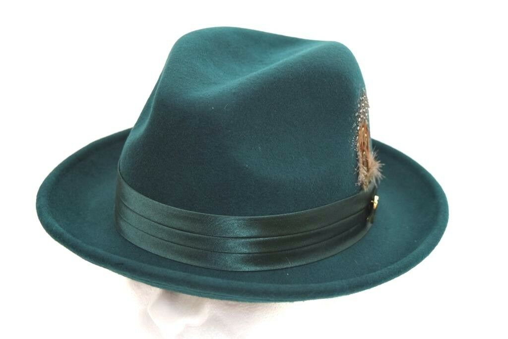 1342932b493 Mens Fedora Dress Hat Solid Hunter Green UN-116 100% Australian Wool ...