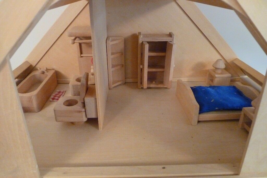 Unique hand-made wooden doll\'s house + 77 items of hand-made ...
