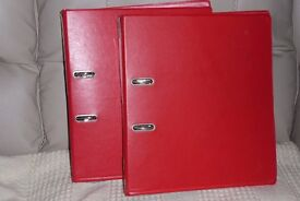 Two Red Colour Lever Arch Files, Histon