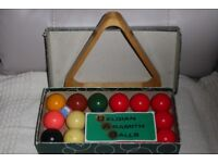 Belgian Aramith Snooker Balls, size 44.5mm with Wooden Triangle & Instructions, Histon