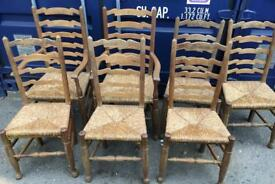 7 Old vintage oak ladder back rush seat dining kitchen chairs 2 carver armchairs
