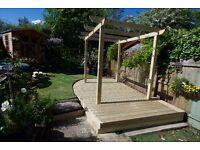 Outdoor garden decking, pergolas and sleeper beds
