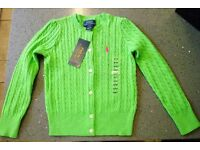 RALPH LAUREN Neon Green Cotton Cable Cardigan Size 4T RRP £69
