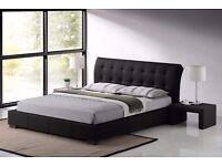 """Designer Faux Leather 4FT 6"""" Double Bed Frame Bedroom Furniture"""
