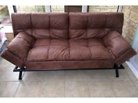 Texas Brown Faux Leather Sofabed