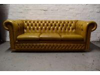 Antique Gold Chesterfield Three Seater Sofa (DELIVERY AVAILABLE)