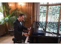 Pianist with White Baby Grand Piano Shell for weddings & events