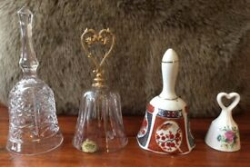 4 beautiful Glass and Porcelain Bell Ornaments