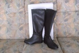 Hotter Justina-Justi dark brown leather boots, size 6