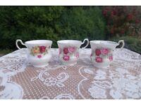 3 × Roses Bone China Tea Cups Gold Trim