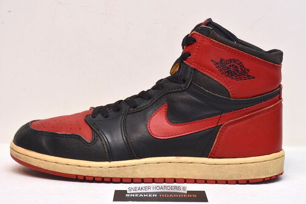 Air Jordan 1 High Original 1985 Banned Bred Chicago 10.5 10 Black Red OG Hi Nike
