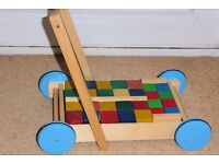 Wooden Baby Walker / BabyToy with 38 Bricks of 3 Different Sizes, Histon