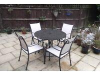 Garden table (granite top) & 4 chairs